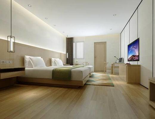 双人房, 客房, 酒店客房, 电视柜, 床