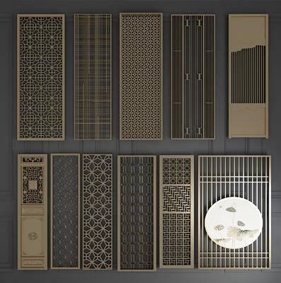 木质屏风, 屏风组合, 折叠屏风, 栅格屏风, 隔断组合, 实木雕花, 新中式