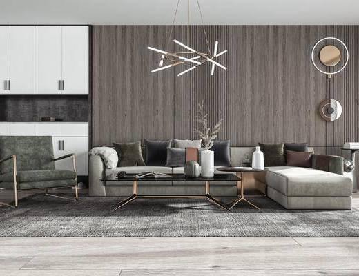 多人沙发, 休闲椅, 吊灯, 墙饰, 摆件