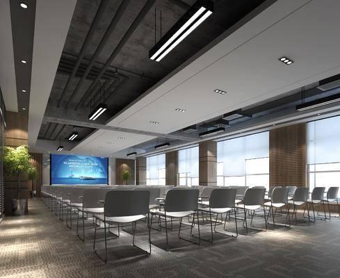 会议室, 单人椅, 盆栽, 绿植植物, 吊灯组合, 办公椅, 现代