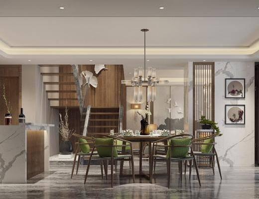 中式餐厅, 新中式餐厅, 餐桌椅, 桌椅组合, 餐具组合