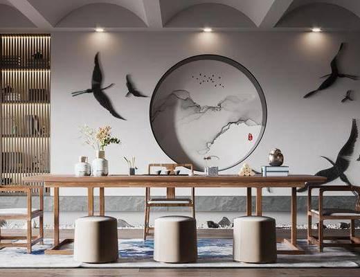 茶室, 书房, 茶具组合, 墙饰, 背景墙