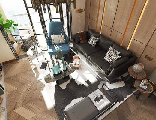客厅, 多人沙发, 茶几, 躺椅, 边几, 单人沙发, 吊灯, 落地灯, 宠物狗, 摆件, 装饰品, 陈设品, 现代轻奢