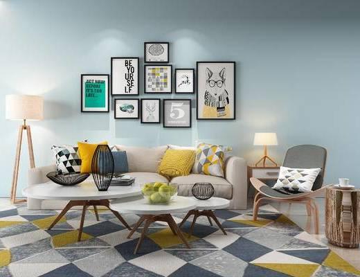 沙发组合, 沙发茶几组合, 北欧沙发, 现代沙发, 装饰画, 茶几, 北欧