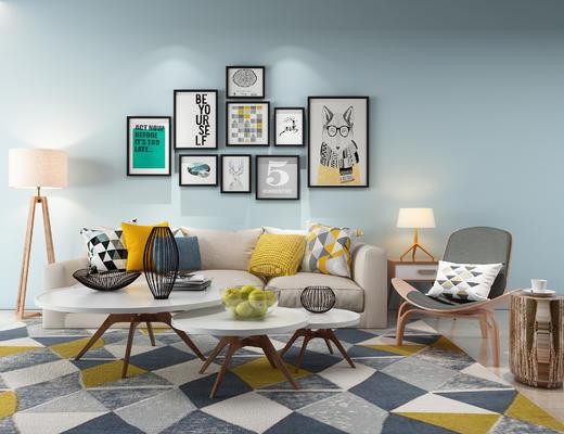 沙发组合, 沙发茶几组合, 北欧沙发, 现代沙发, 装饰画, 茶几