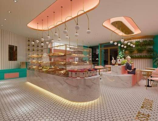 甜品店, 北歐甜品店, 桌椅組合, 單椅, 前臺, 吊燈, 植物, 盆栽, 北歐