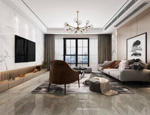 沙发组合, 桌椅组合, 吊灯, 墙饰, 装饰画, 单椅
