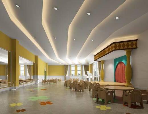 幼儿园, 桌子, 单人椅, 凳子, 活动室, 白色钢琴, 板凳, 现代