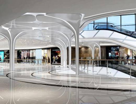 商场中庭, 服装店, 服饰, 现代