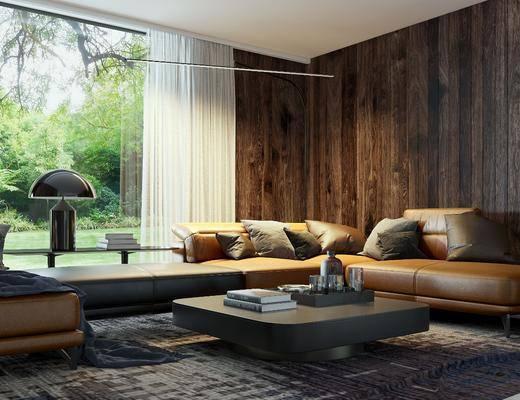 现代, 客厅, 沙发组合, 天井