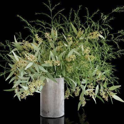 花卉花瓶, 绿植植物, 现代