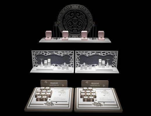饰品, 珠宝首饰, 首饰道具, 展示柜, 现代