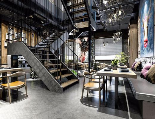 餐厅, 工业风, 餐桌椅, 桌椅组合, 楼梯, loft