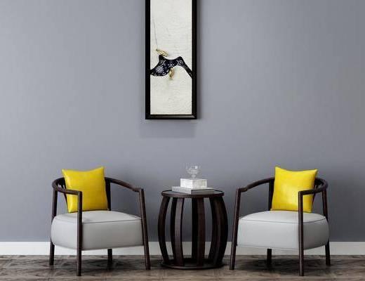 单椅, 茶几组合, 装饰画, 单人沙发