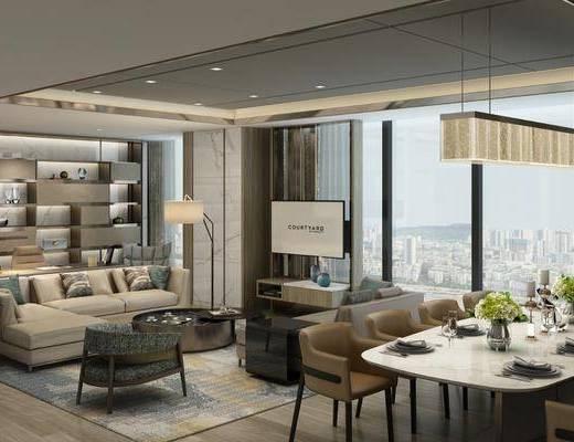 酒店套房, 多人沙发, 转角沙发, 茶几, 落地灯, 餐桌, 餐椅, 单人椅, 餐具, 吊灯, 办公桌, 办公椅, 现代