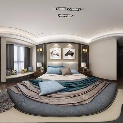 现代卧室全景, 现代, 卧室, 全景模型, 床, 吊灯, 门