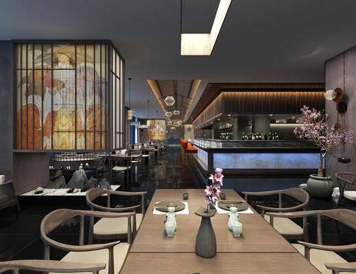 餐厅, 日式料理店, 日式餐厅, 桌椅组合, 前台, 摆件组合, 日式