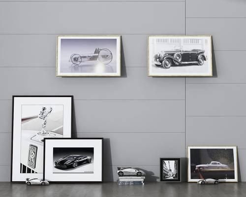 挂画, 汽车模型, 书籍
