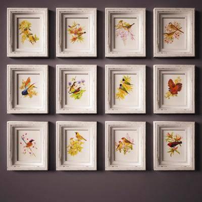 挂画, 动物挂画, 小鸟挂画, 现代