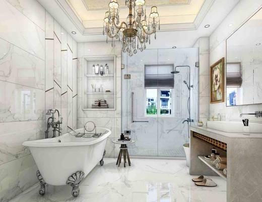 卫生间, 浴缸, ?#35789;?#21488;, 吊灯, 花洒, 装饰画, 挂画, 摆件, 装饰品, 陈设品, 装饰镜, 简欧