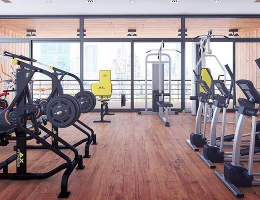 健身房, 现代健身房, 现代, 健身器材, 设备, 跑步机