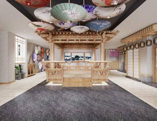 大厅, 日式酒店大厅3d模型, 雨伞, 纸伞