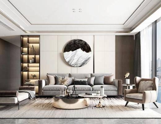 现代客厅, 客厅, 现代沙发组合