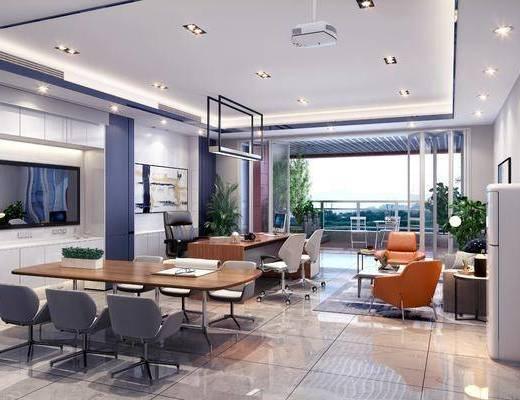 办公室, 经理室, 现代办公室, 办公桌, 办公椅, 沙发组合, 茶几, 摆件组合, 现代