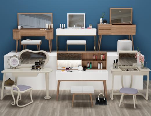 现代梳妆台, 凳子, 镜子
