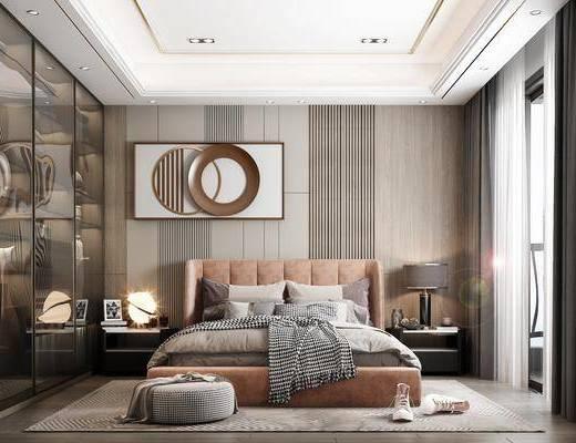 现代, 卧室, 双人床, 床头柜, 墙饰, 地毯, 窗帘, 衣柜, 台灯