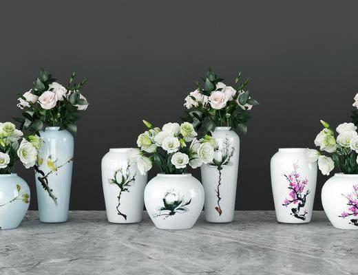 陶瓷器皿, 花瓶花卉, 摆件组合, 新中式