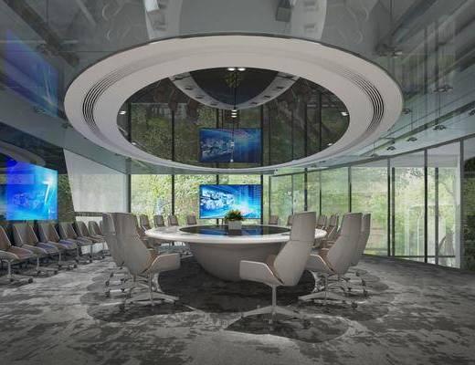 会议室, 会议桌, 单人椅, 办公桌, 办公椅, 现代
