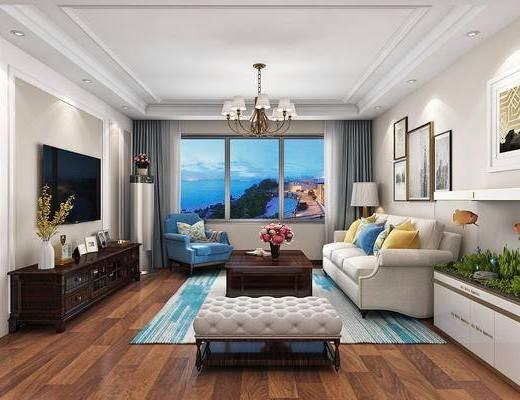 简约, 美式, 美式沙发, 茶几, 吊灯, 挂画, 花瓶, 摆件, 餐桌椅, 过道, 玄关