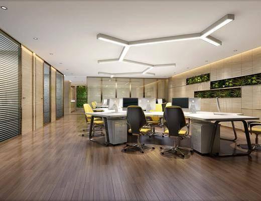 办公室, 办公桌, 办公椅, 单人椅, 轮滑椅, 绿植植物, 吸顶灯, 现代