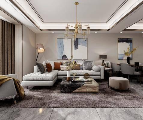 沙发组合, 装饰画, 吊灯, 茶几, 摆件组合, 落地灯, 电视柜