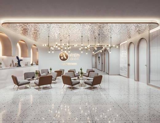 休息大厅, 前台接待, 休闲桌椅, 吊灯, 摆件, 装饰品