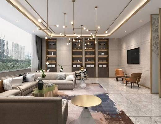 休息区, 灯具, 沙发, 桌椅组合, 边几, 装饰柜