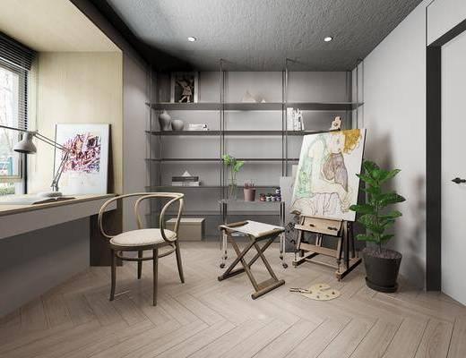 画室, 画板, 单椅, 盆栽植物