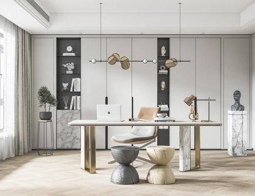 书桌, 桌椅组合, 吊灯, 书柜, 书籍, 装饰品
