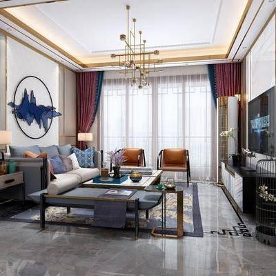 客厅, 沙发, 多人沙发, 茶几, 沙发凳, 吊灯, 电视柜, 壁灯, 墙饰, 边柜, 矮柜, 台灯, 单椅, 椅子, 摆件, 装饰品, 新中式