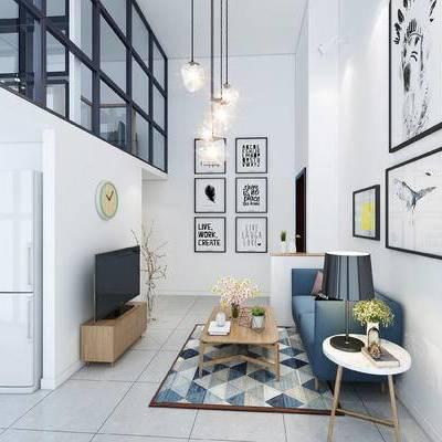 客厅, 北欧, 北欧客厅, 北欧沙发, 沙发组合, 沙发茶几组合