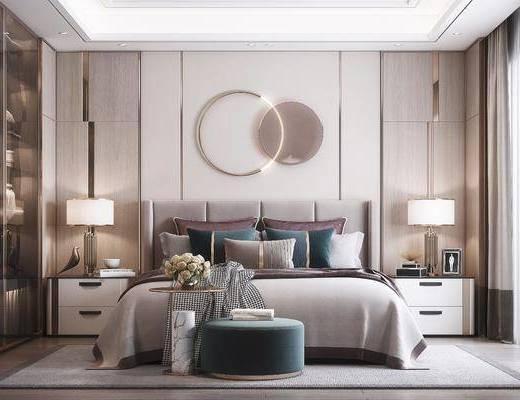 双人床, 墙饰, 床头柜, 台灯, 衣柜