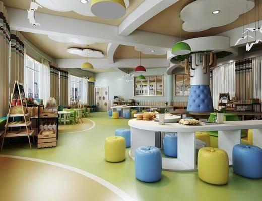 儿童游乐园, 儿童桌椅, 凳子, 儿童玩具, 吊灯, 装饰柜, 摆件, 装饰品, 陈设品, 现代