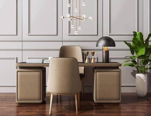 办公桌椅, 写字桌, 洽谈桌, 新中式吊灯