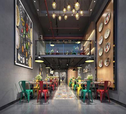 餐厅, 主题餐厅, 工业风餐厅, 桌椅组合, 挂画, 墙饰, 吊灯, 工业风