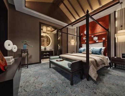 中式, 中式卧室, 双人床, 边柜, 吊灯, 植物盆栽, 下得乐3888套模型合辑