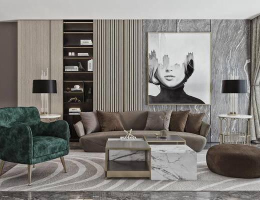 茶几, 单人沙发, 摆件装饰品, 地毯