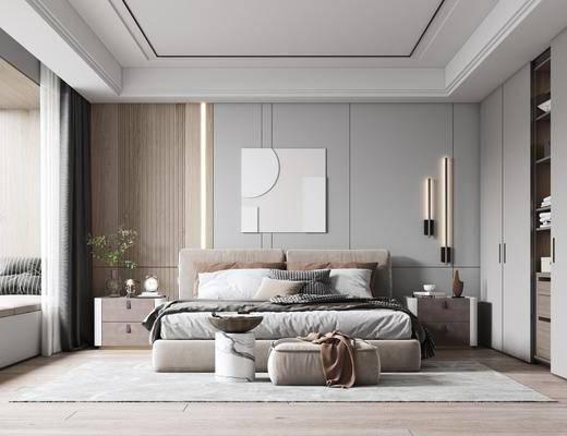 现代, 卧室, 双人床, 床头柜, 墙饰, 地毯