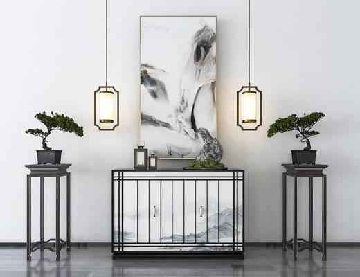 吊灯, 边柜, 摆件组合, 装饰品, 盆景