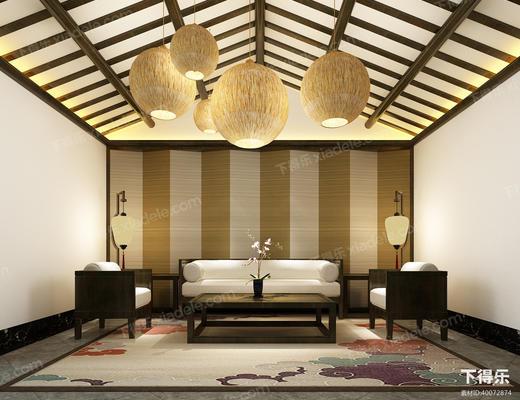 洽谈区, 会客厅, 会客区, 沙发组合, 沙发茶几组合, 吊灯